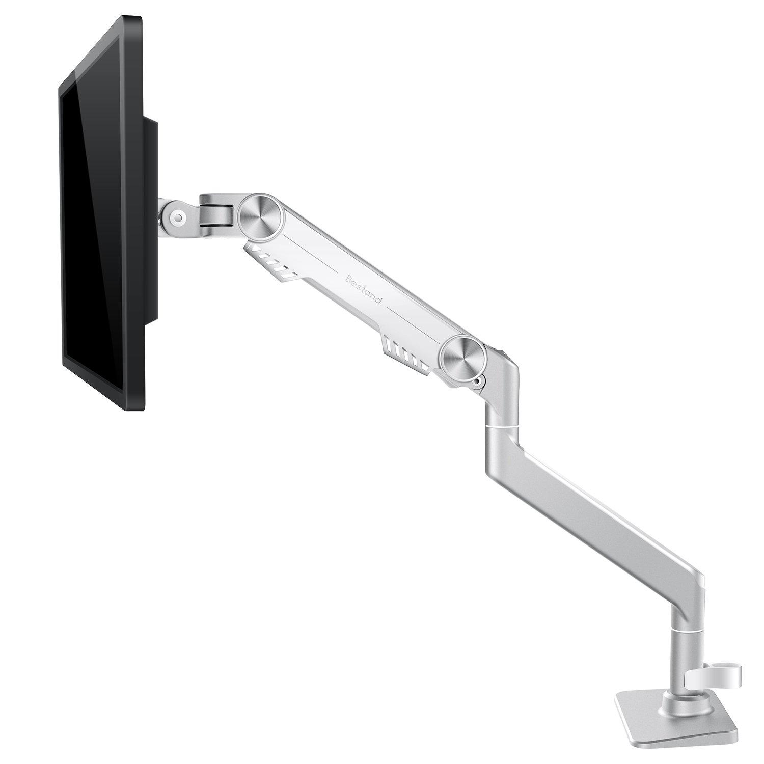 Monitor Arm Mount, Bestand Vesa Single Display Desk Mount Stand for LCD LED Computer TV Screen up to 27'', (Single Arm, Silver)
