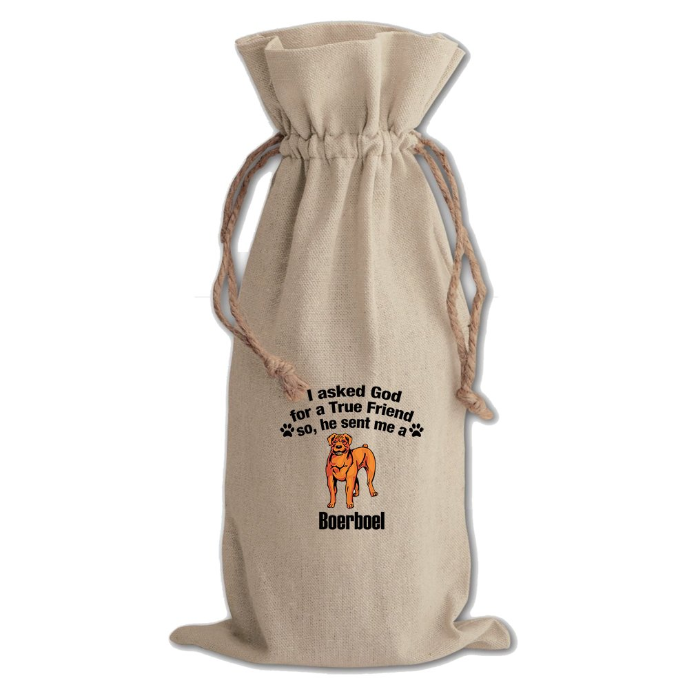 Canvas Wine Drawstring Bag Asked God For Friend Sent Boerboel Dog Style In Print by Style in Print (Image #1)