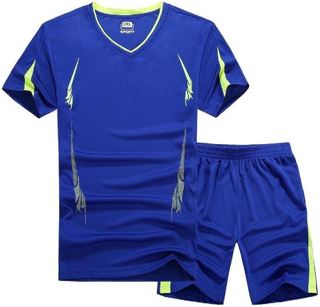 UUYUK Men Plus Size Short Sleeve Fitness Running T-Shirts Shorts Tracksuit