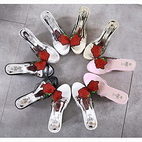Transparent D'¨¦t¨¦ Tongs Talon Brod¨¦ Femmes Imperm¨¦Able Haut Plage Abuyall Natation Rose Toe Pantoufles Chaussures Pt8 Sandales Sandales BxS41Cq