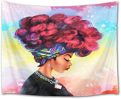 Sandayun88x African Woman Tapestry Black Girl with Red Afro Hair Wall Hanging Blanket Watercolor Portrait Wall Decor for Bedroom Living Room Dorm,80 X 60 Inch