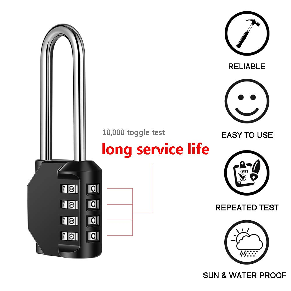 Disecu 4 Digit Combination Lock 2.5 Inch Long Shackle and Outdoor Waterproof Resettable Padlock for Gym Locker, Hasp Cabinet, Gate, Fence, Toolbox (Black,Pack of 2) by Disecu (Image #3)