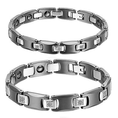 7b65fc1d7d99 cupiamtch 2pcs CZ acero inoxidable cerámica enlace pulsera para hombres  mujeres amantes del aniversario de boda regalo  Amazon.es  Joyería