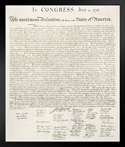 Black American League Frame - Declaration of Independence United States Continental Congress Philadelphia 1776 Art Framed Poster 14x20 inch
