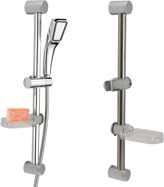 ColdShine Adjustable Chrome Bathroom Shower Head Holder Riser Rail Bracket Slider Bar Kit