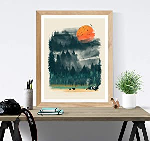Wilderness Print/Camping Hiking Print/Great Outdoors Print/Wilderness Lover Wall Art/Forest Trees Bears Tent Nature Inspiration Home Decor/Unframed 18 x 24 Inch Poster