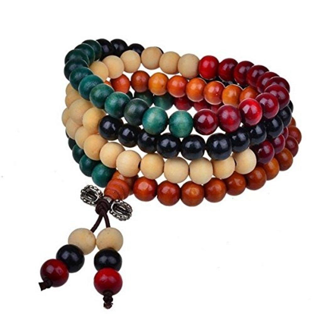 OMA Tibetan Buddhist Sandalwood Scented Mala Prayer Beads Wrap Bracelet - Premium Quality BRAND (Multi Color Sandalwood)