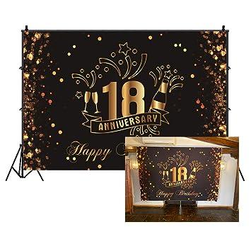 Cassisy 1,5x1m Vinilo Cumpleaños Telon de Fondo 18 Feliz cumpleaños Aniversario Banner Champán Lentejuelas Fondos para Fotografia Party Infantil Photo ...