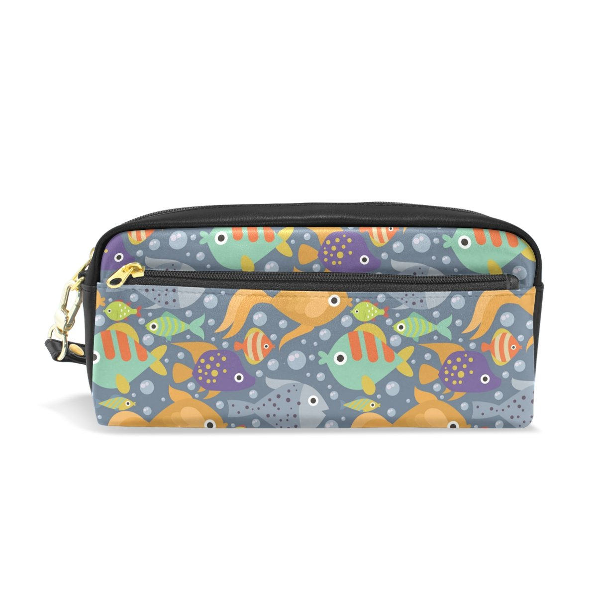 Pencil Case Pouch Storage Tropical Ocean Fish Stationery Cosmetic Makeup Wristlets Bag Zipper