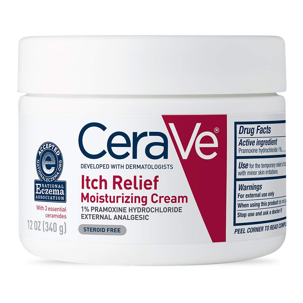 CeraVe Moisturizing Cream for Itch Relief | 12 Ounce | Dry Skin Itch Relief Cream with Pramoxine Hydrochloride | Fragrance Free