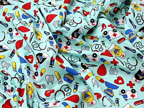 Los médicos y Enfermeras impresión vestido de polialgodón tela ...