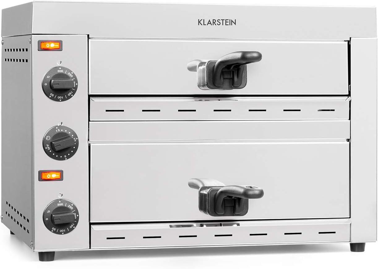 Klarstein Vesuvio II Pro horno para pizzas - 2260 W, 2 cámaras, superficie de horneado de 360 x 330 mm, temperatura de 300 °C, bandeja para migas, acero inoxidable, horno, pan y bollería, plateado