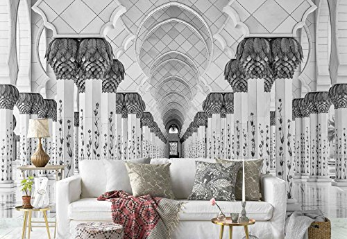 Photo wallpaper wall mural - Marble Stone Hallway Pillars Corridor - Theme Architecture - XL - 12ft x 8ft 4in (WxH) - 4 Pieces - Printed on 130gsm Non-Woven Paper - Grey Temple Marble
