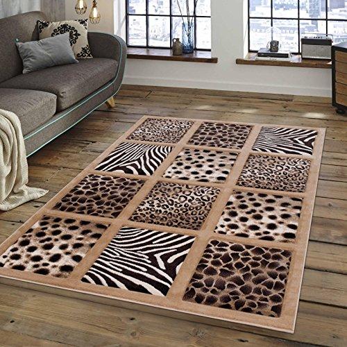Jaguar Area Rug (Tile Block Animal Skin Design Area Rug, Safari Leopard Zebra Cheetah Jaguar Motif, Rectangle Indoor Hallway Doorway Living Area Bedroom Carpet, Geometric Stripes Dots Theme, Tan, Cream Size 5'2 x 7'2)