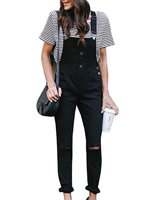 2019 best sell discount coupon details for Vdual Women Black Dungarees Denim Jean Straight Leg Slim Fit ...