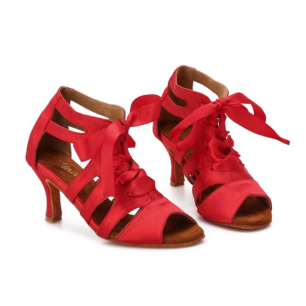 TTdancewear Women Ballroom Dance Shoes Latin Salsa Bachata Wedding Dance Dancing Shoes 7- Red 3inch by TTdancewear (Image #4)