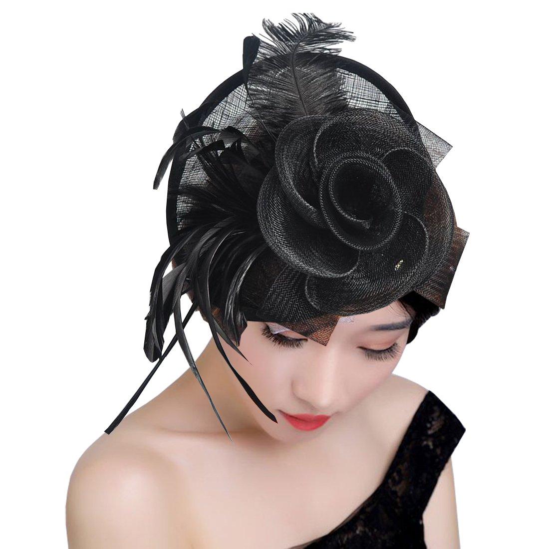 KAXIDY Femme Chapeaux C/ér/émonie Chapeau F/ête Bride Chapeau Casquettes Voilette Mariage Bonnets
