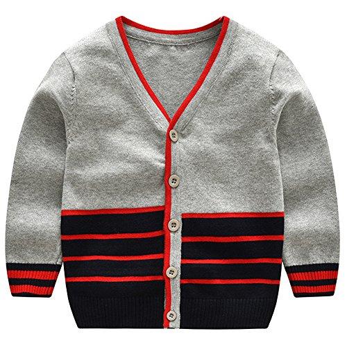 Stripe V-neck Cardigan - Thgonwid Boys' Casual V-Neck School Uniform Wool Stripes Sweater Cardigan for 2-9 Years Old