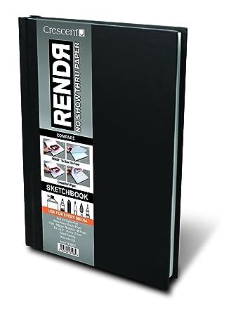 "RENDR No Show Thru Hard Bound Sketch Book 5.5/""X8.5/""-48 Sheets"