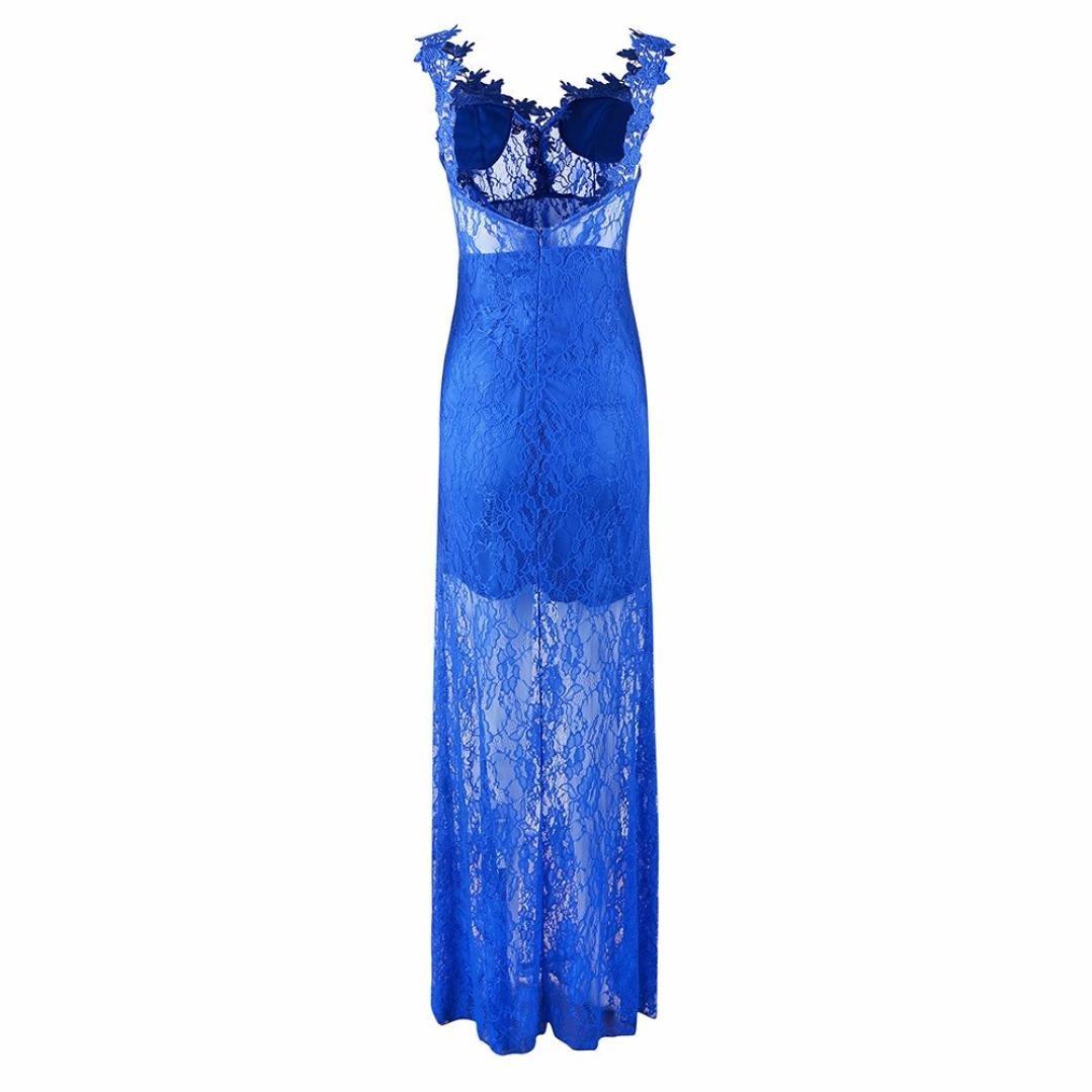 Gusspower Mujeres Vestido de Encaje, Vestido Floral Largo Elegante Cuello V Mixi Sexy sin Espalda Vestidos para Fiesta Bodas Cóctel: Amazon.es: Ropa y ...
