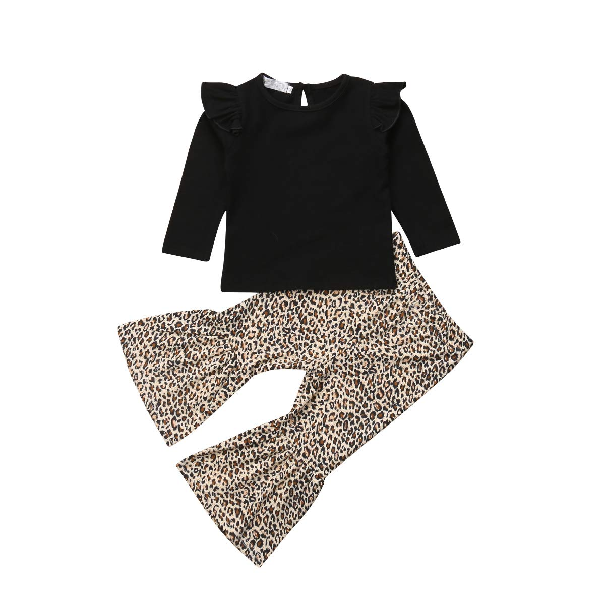 Toddler Baby Girl Pant Sets Outfits, Long Sleeve Tops T Shirts + Leopard Flared Wide Leg Pants (4-5 Years, Black)