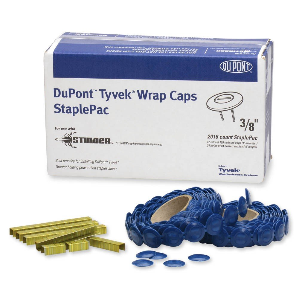 DuPont Tyvek Wrap Caps StaplePac - 3/8'' - Box of 2016