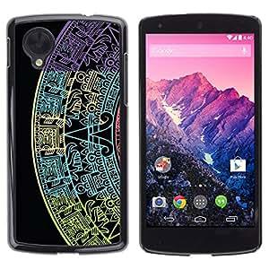 Paccase / SLIM PC / Aliminium Casa Carcasa Funda Case Cover para - Star Calendar History Ancient Black - LG Google Nexus 5 D820 D821