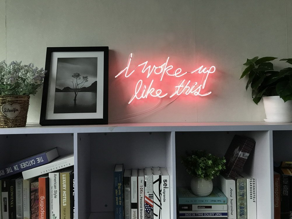 I Woke Up Like This Real Glass Neon Sign For Bedroom Garage Bar Man Cave Room Home Wall Decor Handmade Visual Artwork Lighting by AOOS NEON