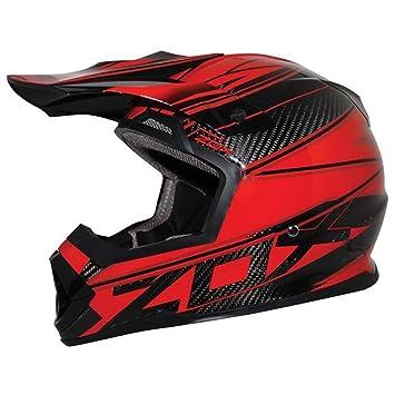 ZOX Matriz para hombre calle casco de moto – Carbono abismo rojo