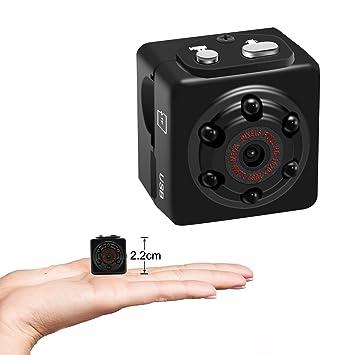 AUFIKR Mini Cámara 1080P Pequeña Videocámara Portátil Detección de Movimiento Cámara Grabadora de Vídeo con Visión Nocturna, HD Nanny CAM, Soporta hasta 128 ...