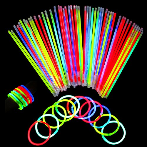 Neon Light Up Glow Sticks Bright Glo Lite Stix 8'' Bracelet Necklace Favors 200 Pcs Pack