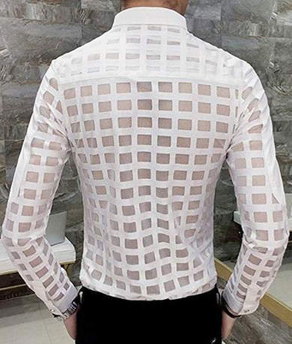 XTX Mens Skinny Lace Trend Sheer Shirt Night Club Long Sleeve Plaid Shirts