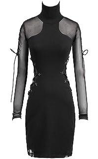 91e9390da751 Punk Rave Robe Noire avec Parties Transparentes, laçages et col, Gothique  Sexy