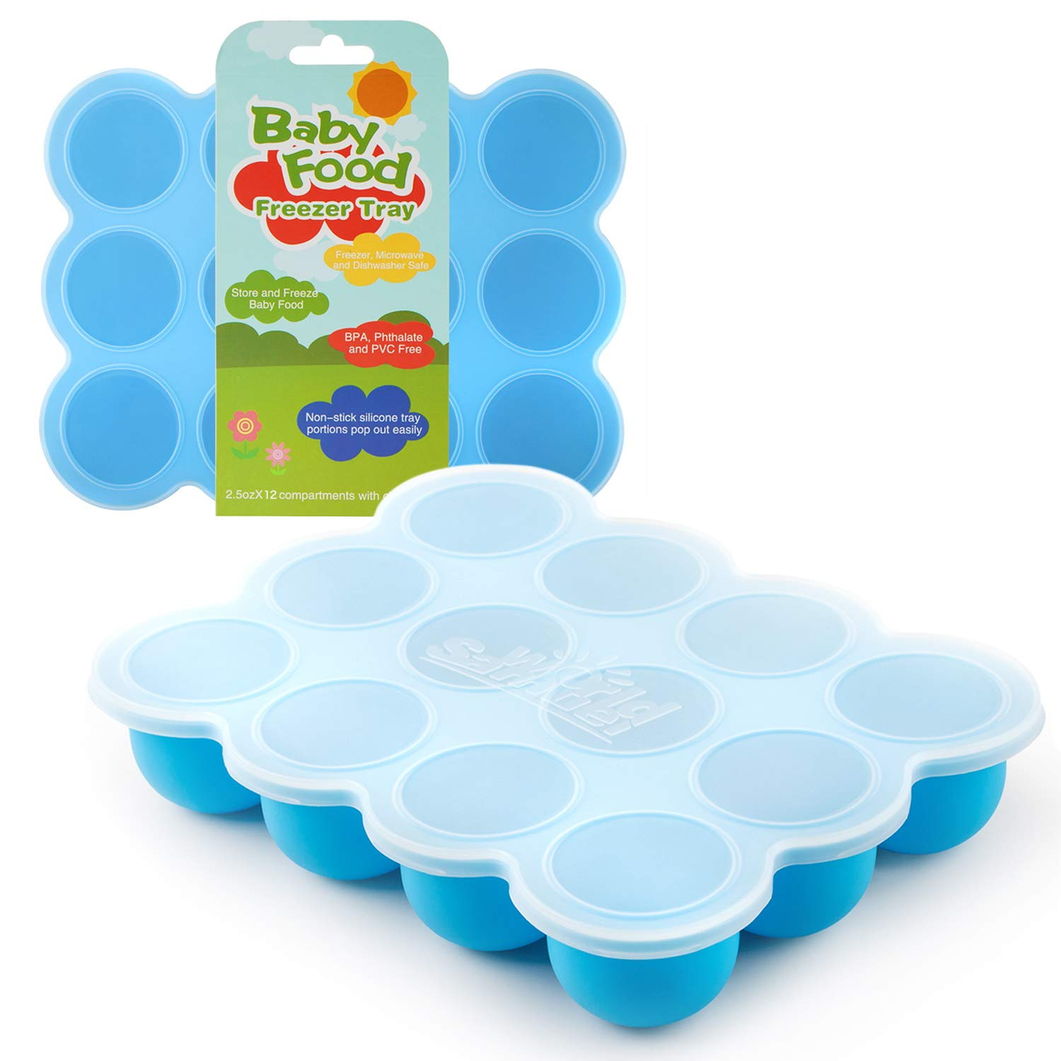 Samuelworld Baby Food Storage Container, 12 Portions Freezer Tray with Lid, 12x2.5oz BPA Free, FDA Approved, Silicone, Perfect for Homemade Baby Food, Vegetable & Fruit Purees and Breast Milk by Samuelworld