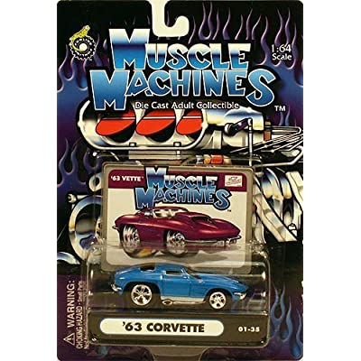 Muscle Machines Blue '63 Corvette 01-35 1:64 Scale by Funline: Toys & Games