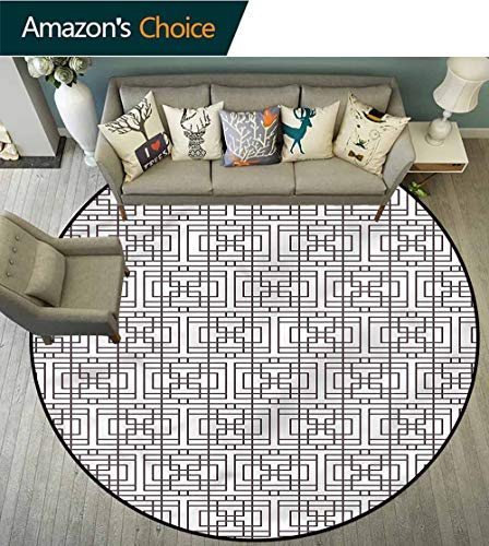 RUGSMAT Geometric Non Slip Round Rugs,Grid Square Rectangle Oriental Floor and Carpets Round-39