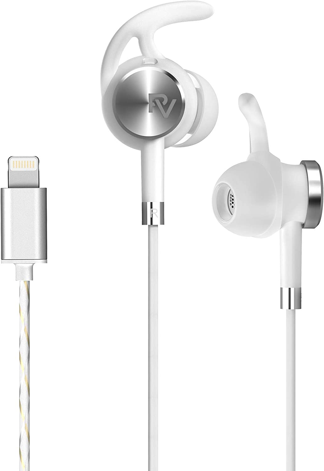 PALOVUE Lightning Earphones with Mircrophone Headphones Earbuds for Sports Workout MFi Certified Noise Isolation Compatible iPhone 12 11 Pro Max iPhone X/XS Max/XR iPhone 8/P 7/P NeoFlow (Silver)