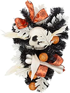 "wlflash Happy Halloween Wreath for Front Door Decoration with Skeleton Artificial Bone Orange Ornaments Maple Leaf for Party Decor (Triangle 23"")"