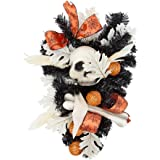 """wlflash 22"""" L x 14"""" W Triangle Happy Halloween Wreath for Front Door Decoration with Ball Ornaments,Maple Leaf,Skull…"""