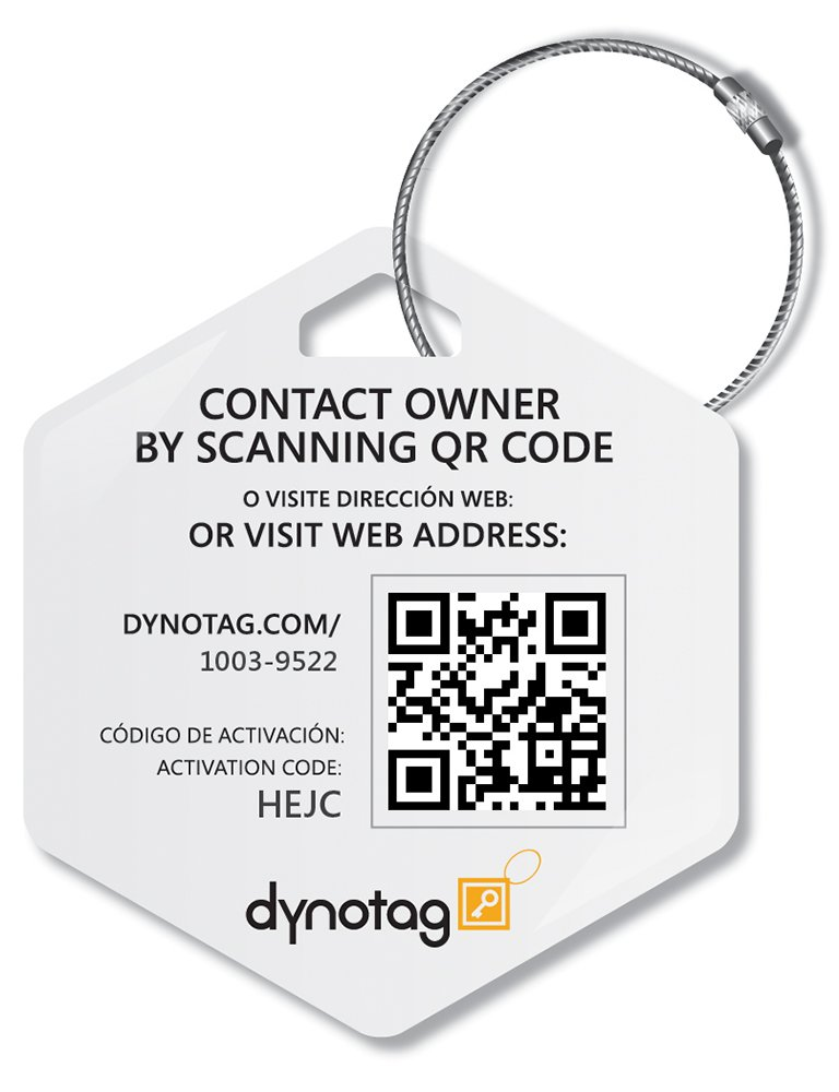 Dynotag Web Enabled Smart Deluxe Steel Property ID Tag with DynoIQ /& Lifetime Recovery Service Hexagon NotYourBag Steel Ring
