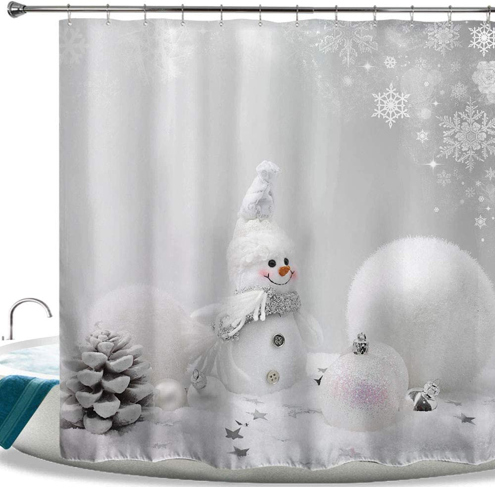 "HIYOO Christmas Happy Snowman Shower Curtain with Hooks, Xmas New Year Home Decorations Winter Bathroom Decor Waterproof Polyester Fabric Shower Curtain - White Ball Snowman 72"" W x 72"" L"