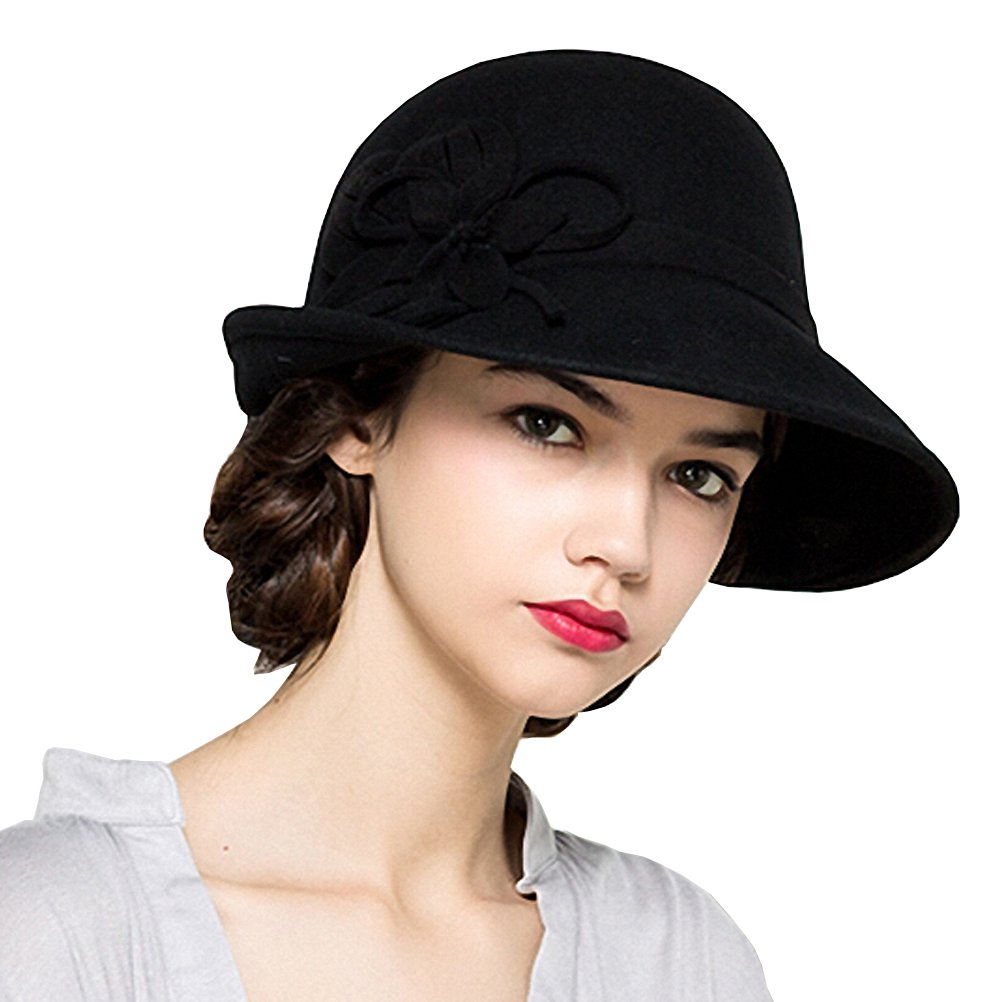 Maitose Women's Wool Felt Flowers Church Bowler Hats Black by Maitose