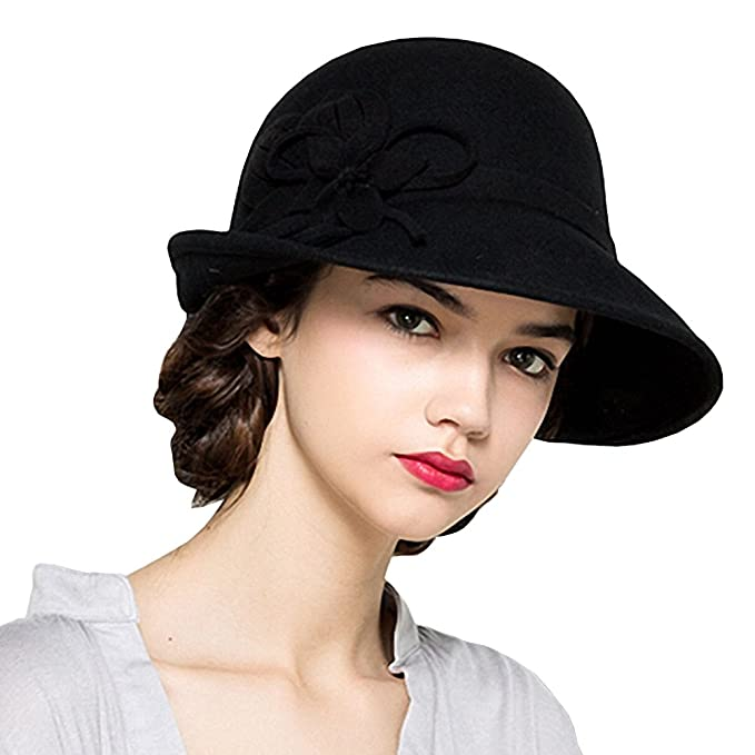 Maitose reg  Women s Wool Felt Flowers Church Bowler Hats Black ... 56bd306f9cc8