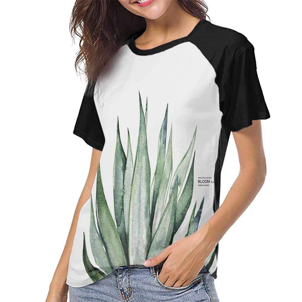 Baseball T-Shirt Summer,Green Plant 18 S-XXL Woman Baseball Tops