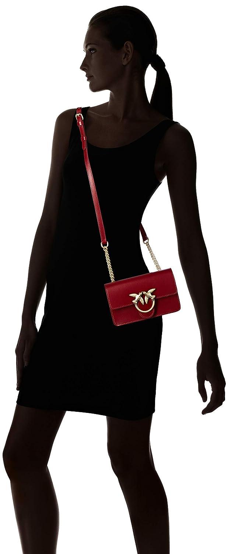 PINKO dam baby kärlek enkel kurirväska, svart, 5 x 10,5 x 16,5 cm Röd (Dark Red)