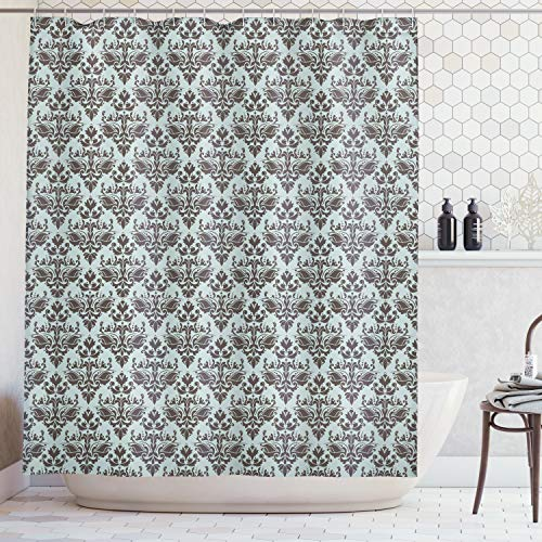 Rayon Curtain - Ambesonne Damask Decor Shower Curtain Set, Damask Shapes Motif Western Modular Leaves and Rayon Curving Lines Creative Floral Design, Bathroom Accessories, 84 Inches Extralong, Teal Brown