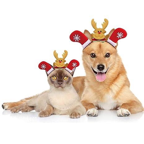 Gato navidad Tocado de la mascota tocado Disfraz para gatos Accesorios para el cabello(M