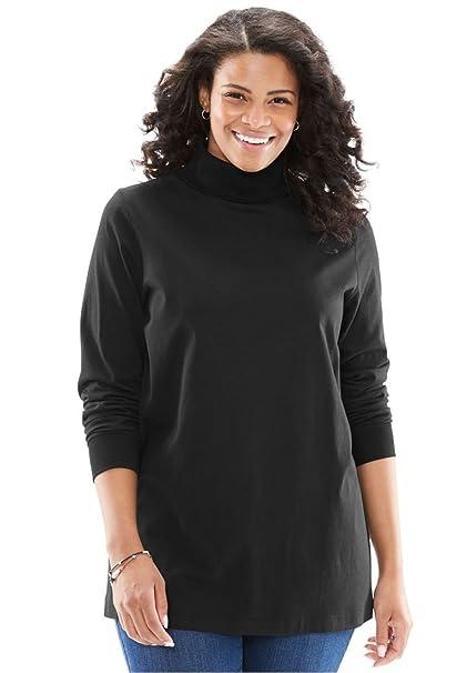 Women's Plus Size Perfect Cotton Turtleneck Black,M