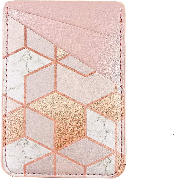 Pastel Bay Blue Gold Marble Adhesive Cell Phone Credit Card Stick On Wallet Holder Phone Pocket Pouch Sleeves for iPhone,Samsung Android and All Smartphones