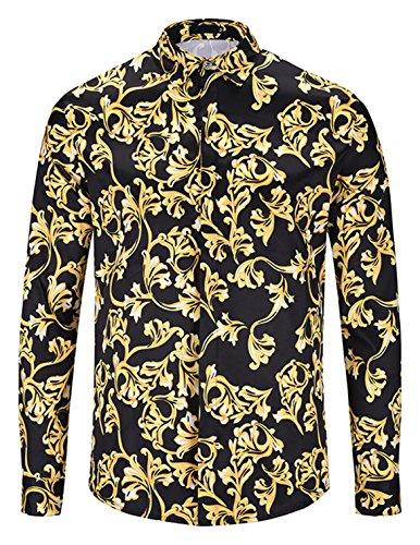 (PIZOFF Mens Long Sleeve Luxury Golden Flowers Floral Print Dress Shirt Y1792-D1-S)